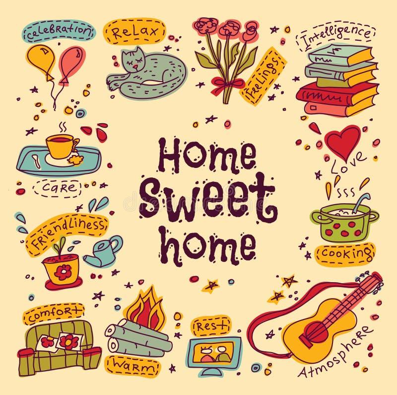 Tarjeta de felicitación casera dulce del estreno de una casa stock de ilustración