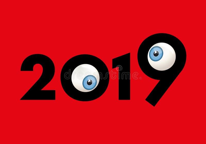 Tarjeta 2019 de felicitación chistosa que muestra dos ojos que bizquean ilustración del vector