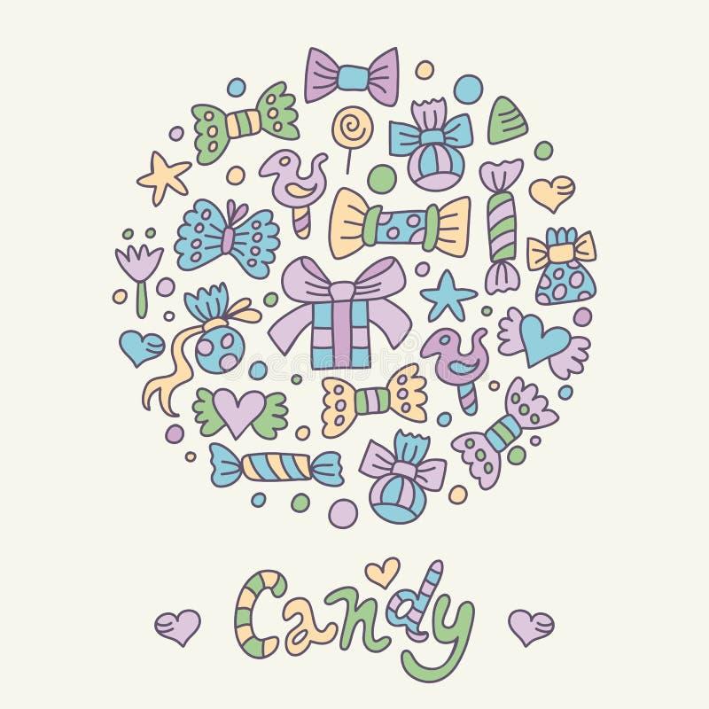Tarjeta de felicitación coloreada del caramelo libre illustration