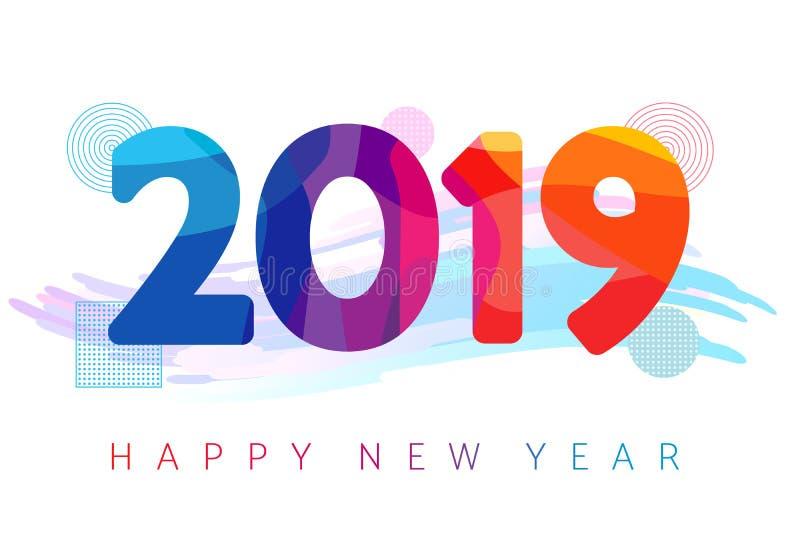 Tarjeta de felicitación coloreada futurista de la Feliz Año Nuevo 2019 libre illustration