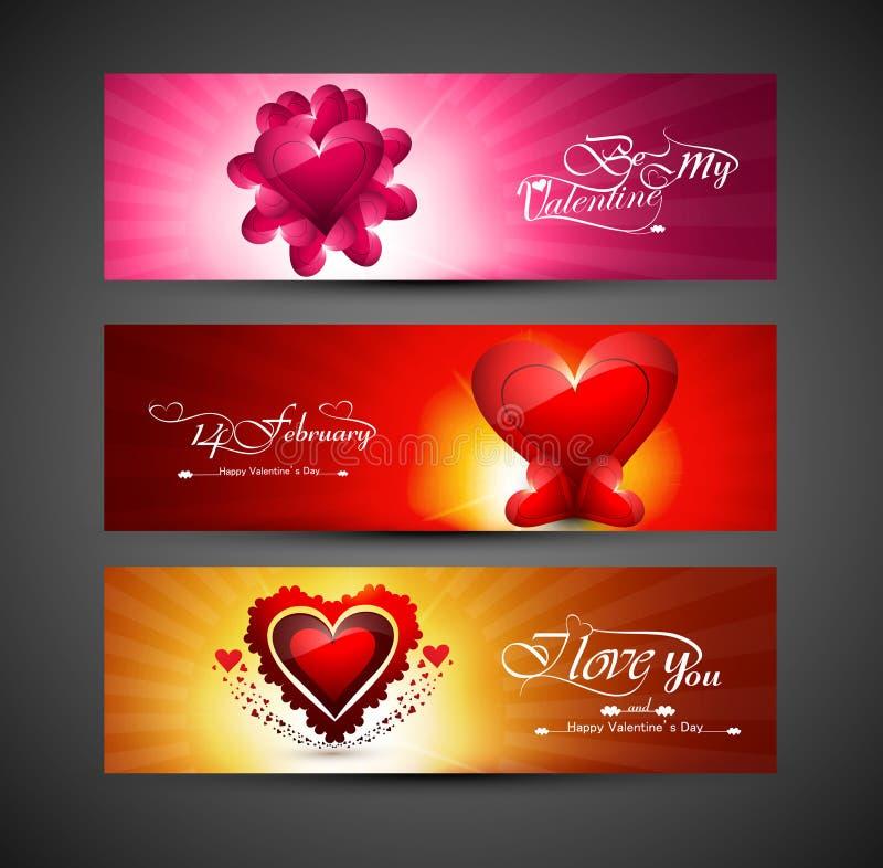 Tarjeta de felicitación colorida brillante del día de tarjetas del día de San Valentín para tres el jefe de stock de ilustración