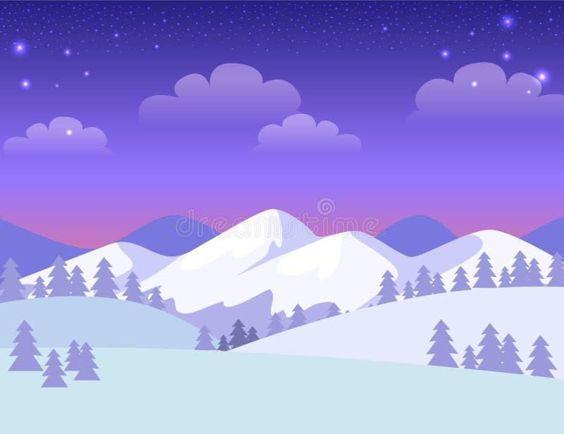 Tarjeta de felicitación colorida con las montañas Nevado libre illustration
