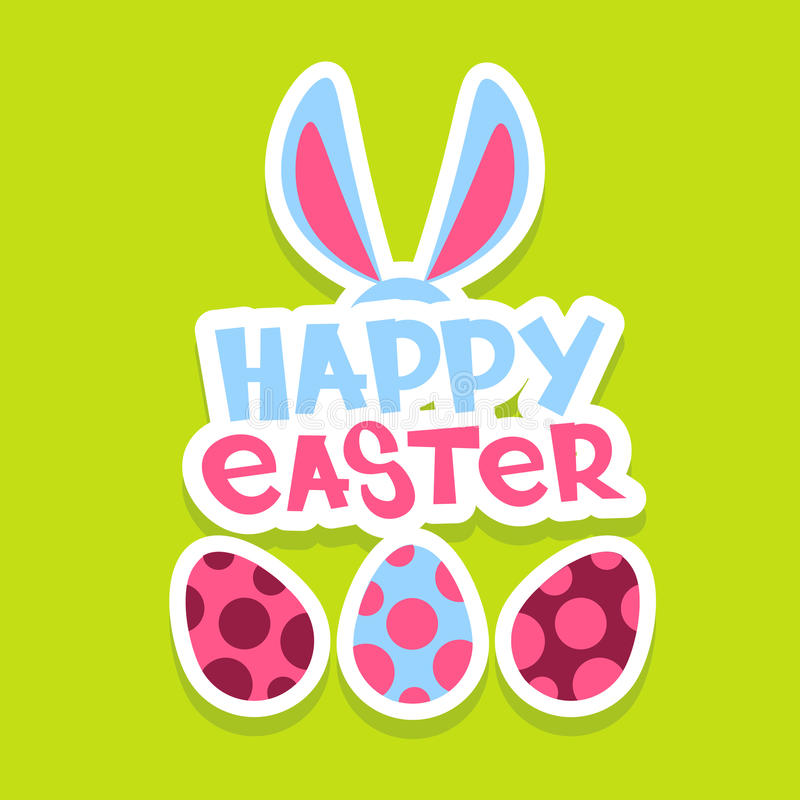 Tarjeta de felicitación colorida de la bandera del día de fiesta de Bunny Painted Eggs Happy Easter de los oídos de conejo ilustración del vector