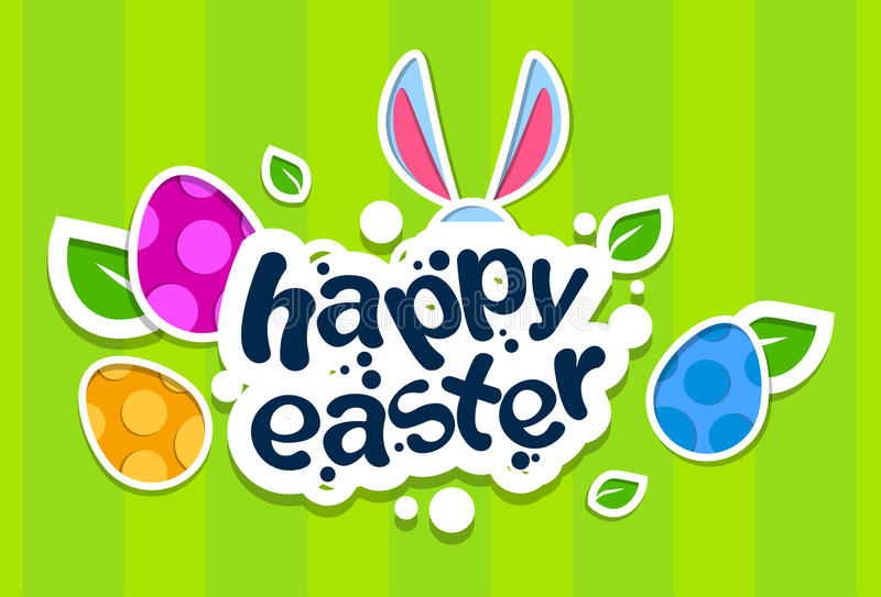 Tarjeta de felicitación colorida de la bandera del día de fiesta de Bunny Painted Eggs Happy Easter de los oídos de conejo stock de ilustración