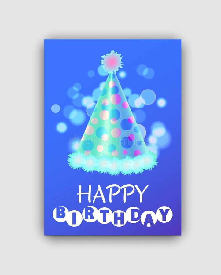 Tarjeta de felicitación colorida del feliz cumpleaños con el sombrero stock de ilustración