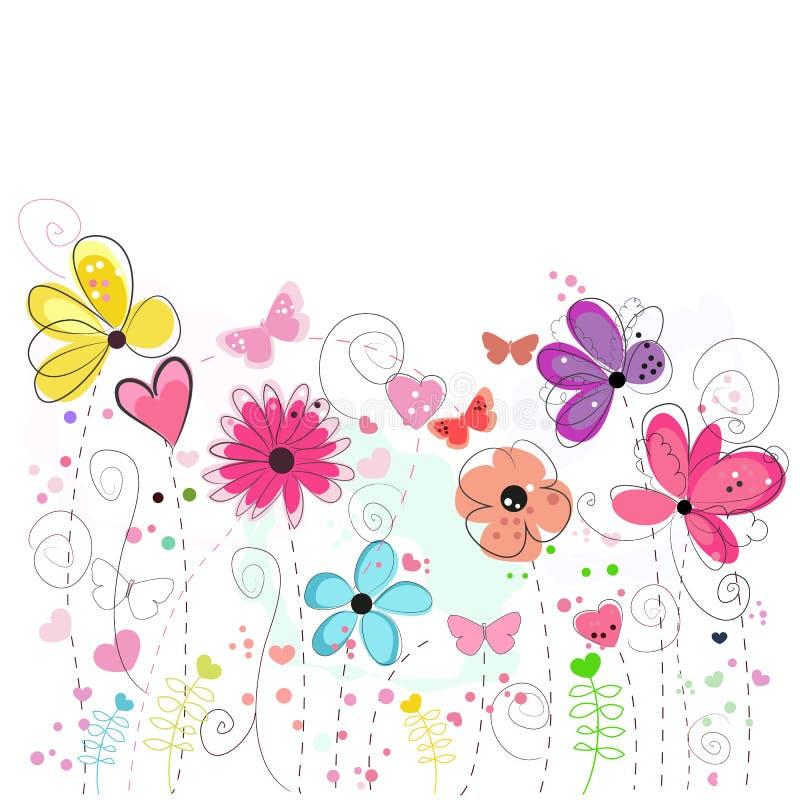 Tarjeta de felicitación colorida de la flor Flores abstractas decorativas florales de la primavera de la tarjeta de felicitación stock de ilustración