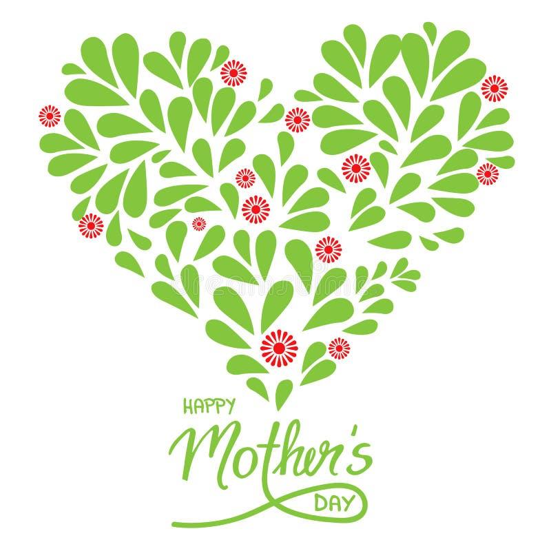 Tarjeta de felicitación con día y el corazón felices de madres de la muestra manuscrita ilustración del vector