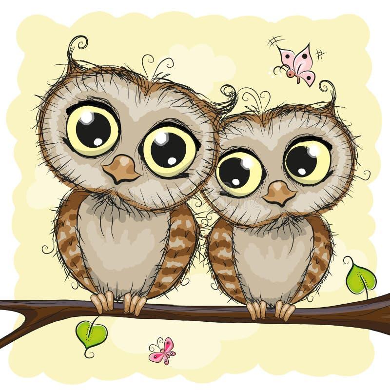 Tarjeta de felicitación con dos búhos ilustración del vector