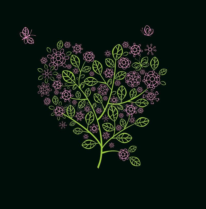 Tarjeta de felicitación con el árbol floreciente de encaje de la primavera libre illustration