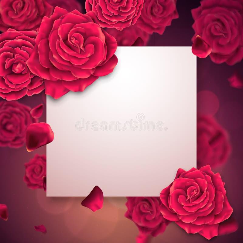 Tarjeta de felicitación con el campo de papel vacío con las rosas en un fondo stock de ilustración