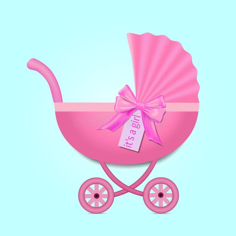 Tarjeta de felicitación con el cochecito para una muchacha en fiesta de bienvenida al bebé Cochecito rosado con un arco Ilustraci ilustración del vector