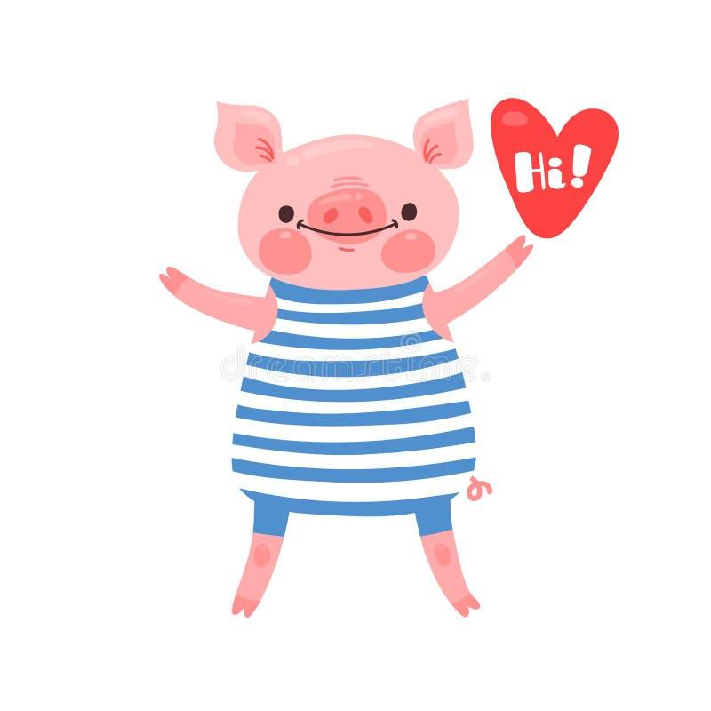 Tarjeta de felicitación con el cochinillo lindo El cerdo dulce dice hola Ilustración del vector libre illustration