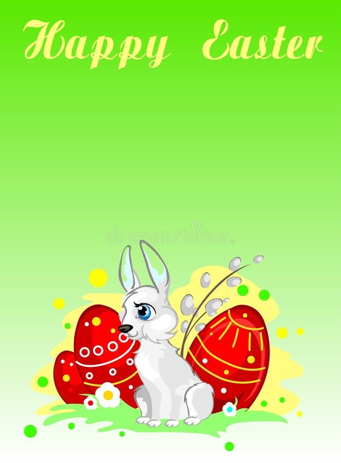 Tarjeta de felicitación con el conejito, los huevos y el sauce de pascua imágenes de archivo libres de regalías