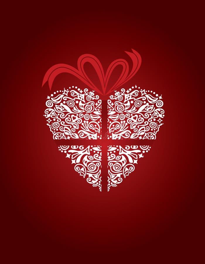 Tarjeta de felicitación con el corazón decorativo stock de ilustración