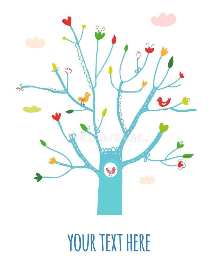 Tarjeta de felicitación con el ejemplo del árbol, de las flores y de los pájaros, diseño gráfico ilustración del vector
