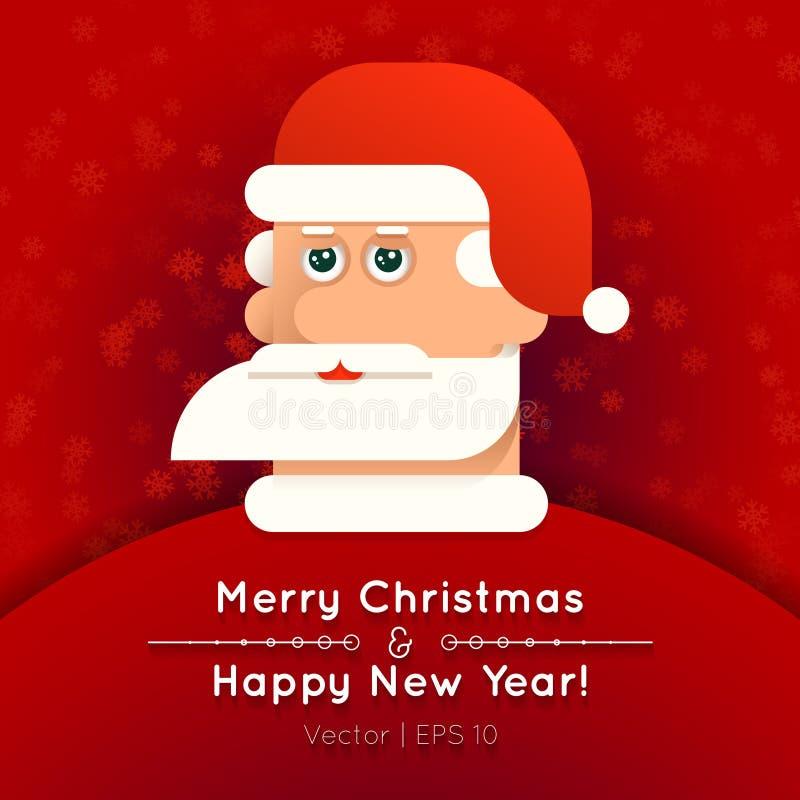Tarjeta de felicitación con el ejemplo del vector de Santa Claus stock de ilustración