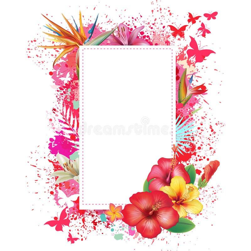 Tarjeta de felicitación con el fondo del grunge del espray stock de ilustración