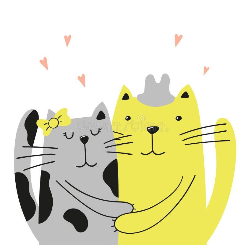 Tarjeta de felicitación con el gato amarillo en el sombrero que abraza a su novia gris libre illustration