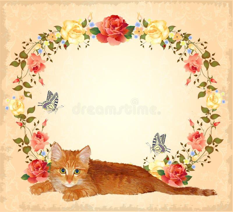 tarjeta de felicitación con el gato y las rosas del jengibre ilustración del vector