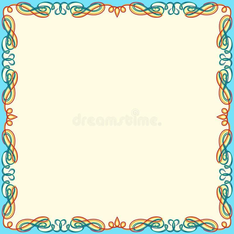 Tarjeta de felicitación con el marco del remolino del color stock de ilustración