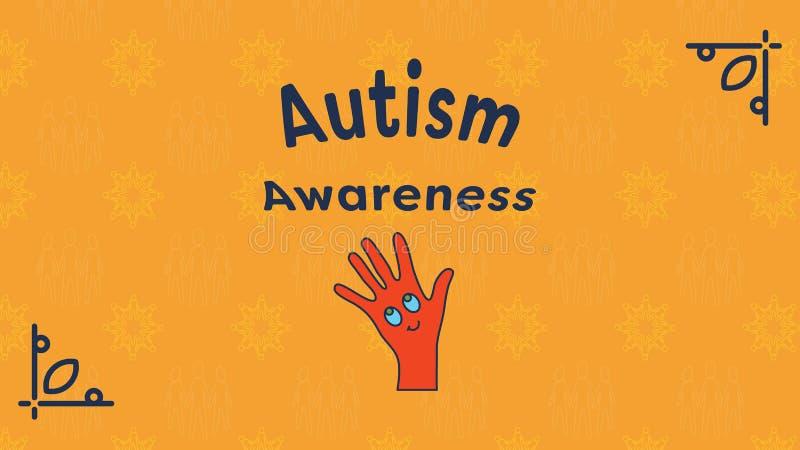 Tarjeta de felicitación con el mensaje de la conciencia del autismo stock de ilustración