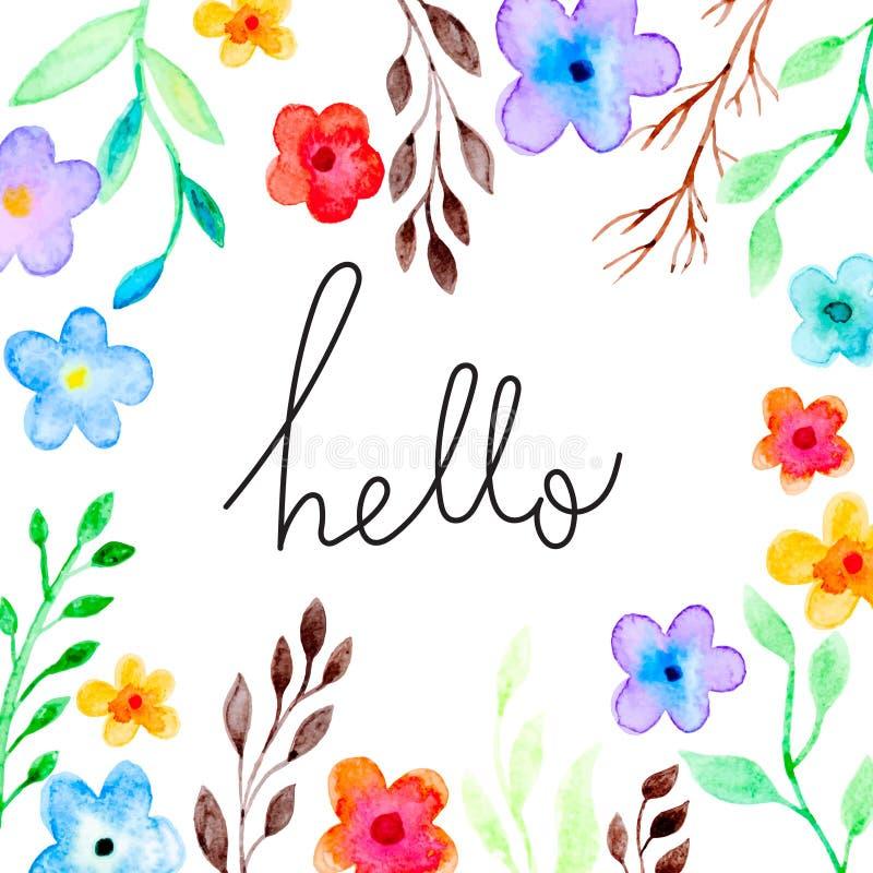Tarjeta de felicitación con el ornamento floral stock de ilustración