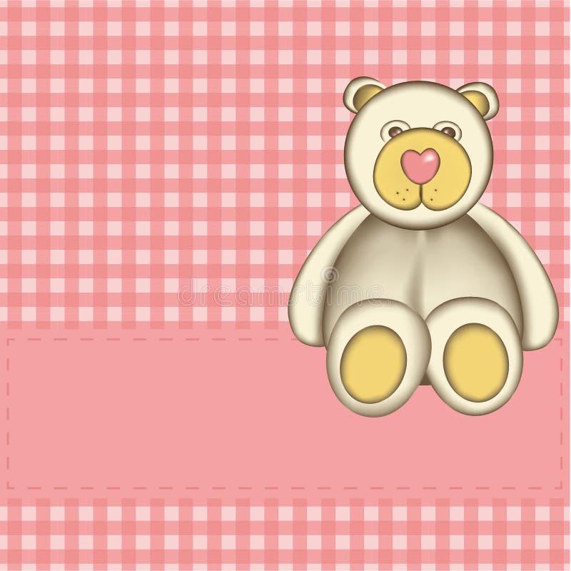 Tarjeta de felicitación con el oso stock de ilustración