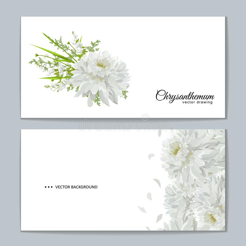 Tarjeta de felicitación con el ramo de las flores - crisantemos blancos ilustración del vector