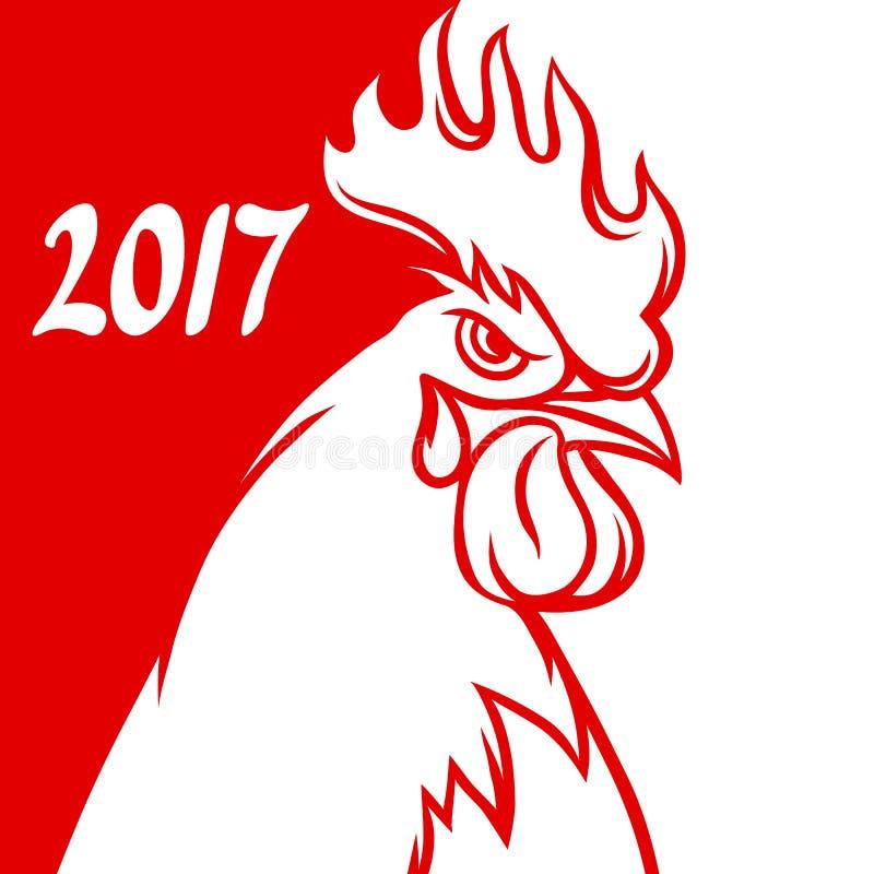 Tarjeta de felicitación con el símbolo del gallo de 2017 por el calendario chino libre illustration