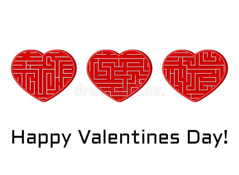 Tarjeta de felicitación con el sistema de corazones aislados del vector con el laberinto del laberinto stock de ilustración