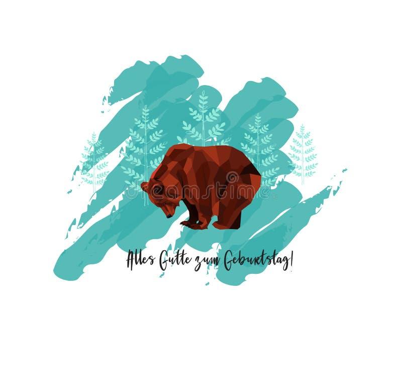 Tarjeta de felicitación con el texto en alemán: Zum Geburtstag de Alles Gutte - en feliz cumpleaños inglés La tarjeta con el oso  libre illustration