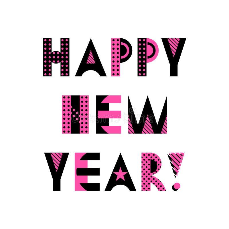 Tarjeta de felicitación con estilo Feliz Año Nuevo Fuente geométrica de moda en el estilo de Memphis libre illustration