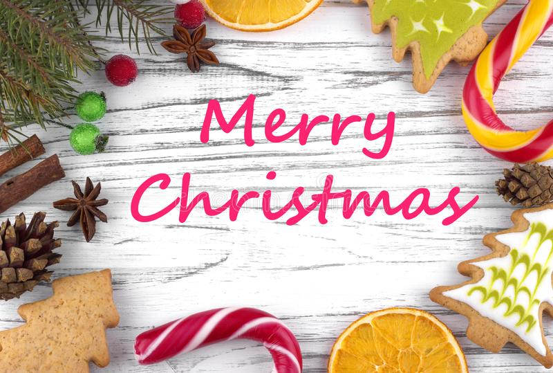 Tarjeta de felicitación con Feliz Navidad del texto fotografía de archivo