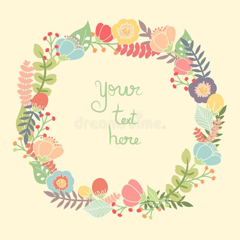 Tarjeta de felicitación con la guirnalda floral stock de ilustración