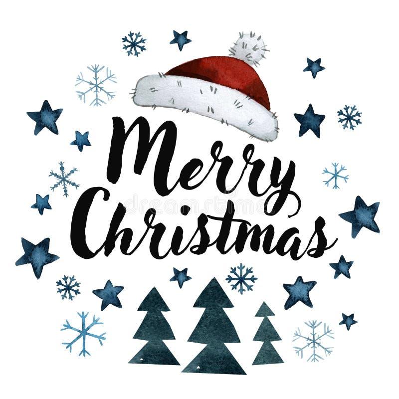 Tarjeta de felicitación con la Navidad con un sombrero de Papá Noel, estrellas, nieve ilustración del vector