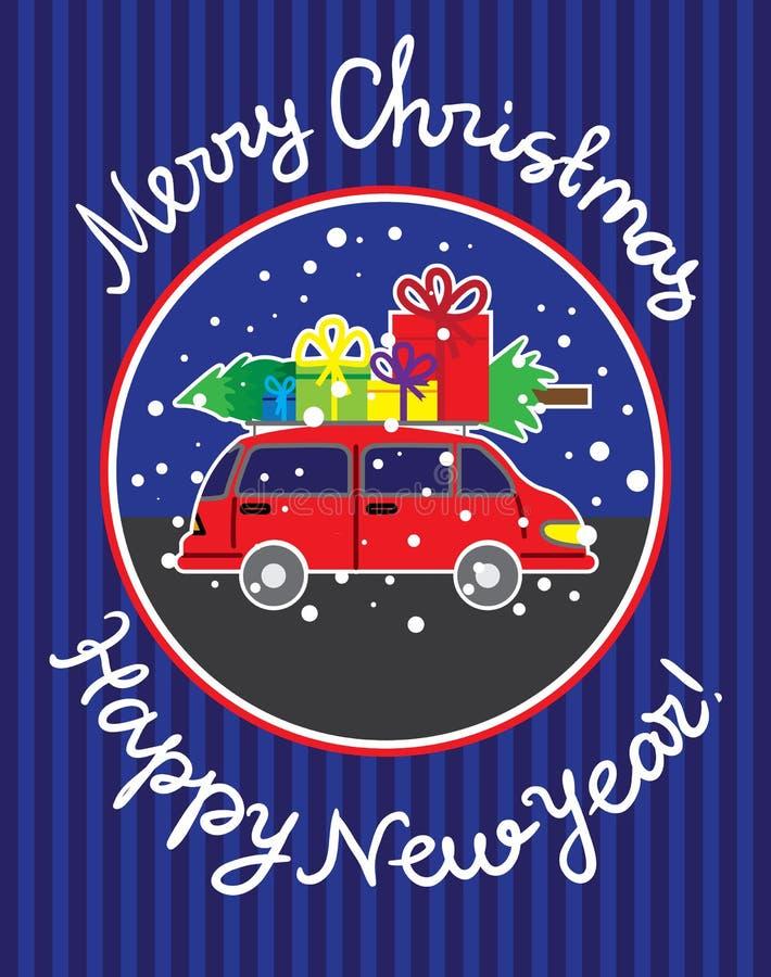 Tarjeta de felicitación con la Navidad y el Año Nuevo stock de ilustración