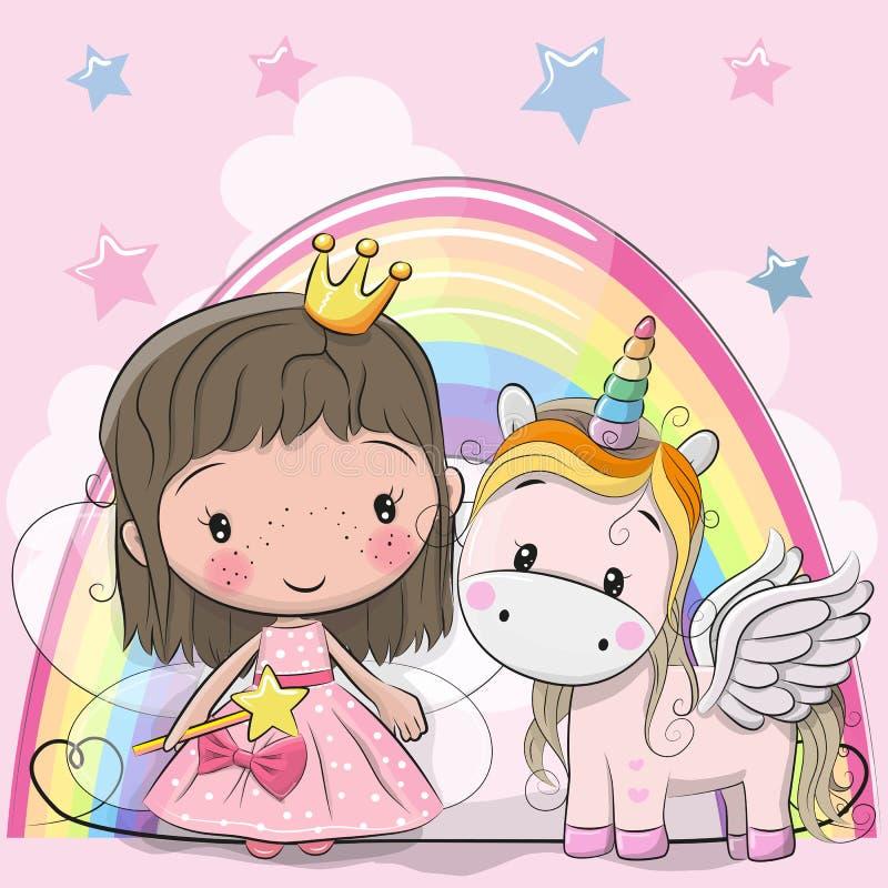 Tarjeta de felicitación con la princesa y el unicornio del cuento de hadas stock de ilustración