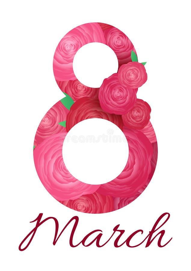 Tarjeta de felicitación con la rosa del rosa 8 de marzo - el día de la mujer stock de ilustración