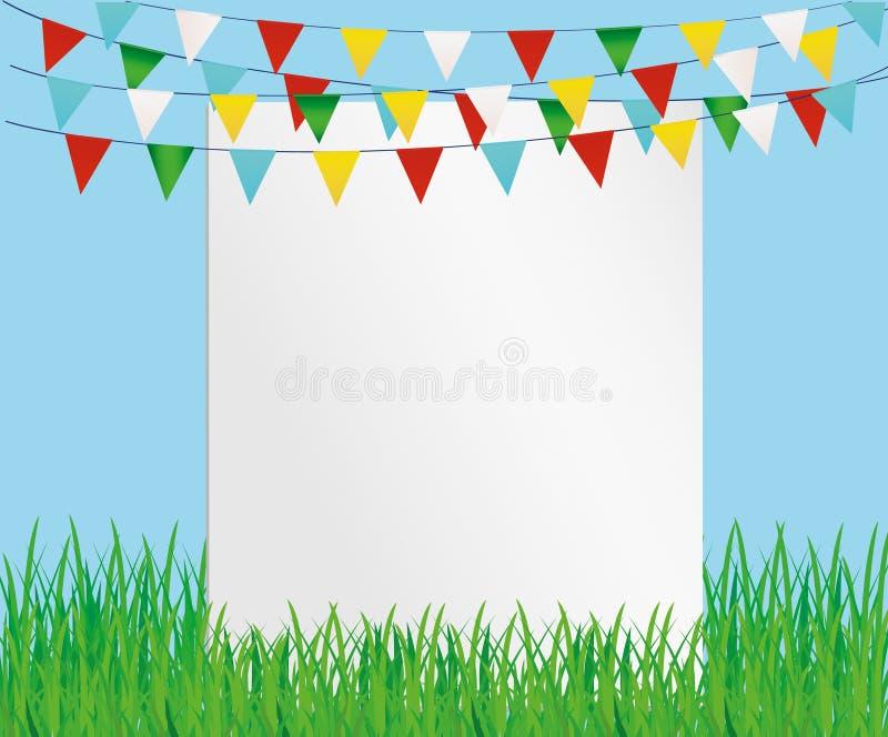 Tarjeta de felicitación con las banderas coloridas y la hierba verde Forma libre para el texto stock de ilustración