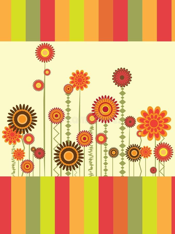 Tarjeta de felicitación con las flores ilustración del vector