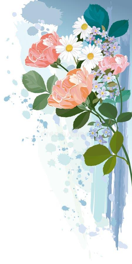 Tarjeta de felicitación con las flores libre illustration