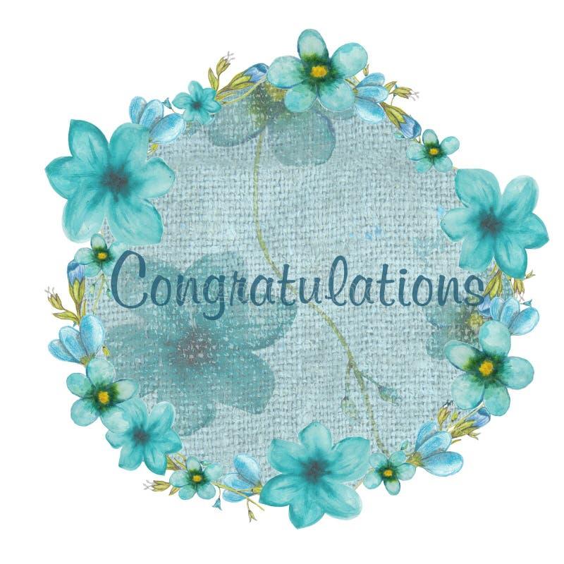 Tarjeta de felicitación con las flores azules stock de ilustración