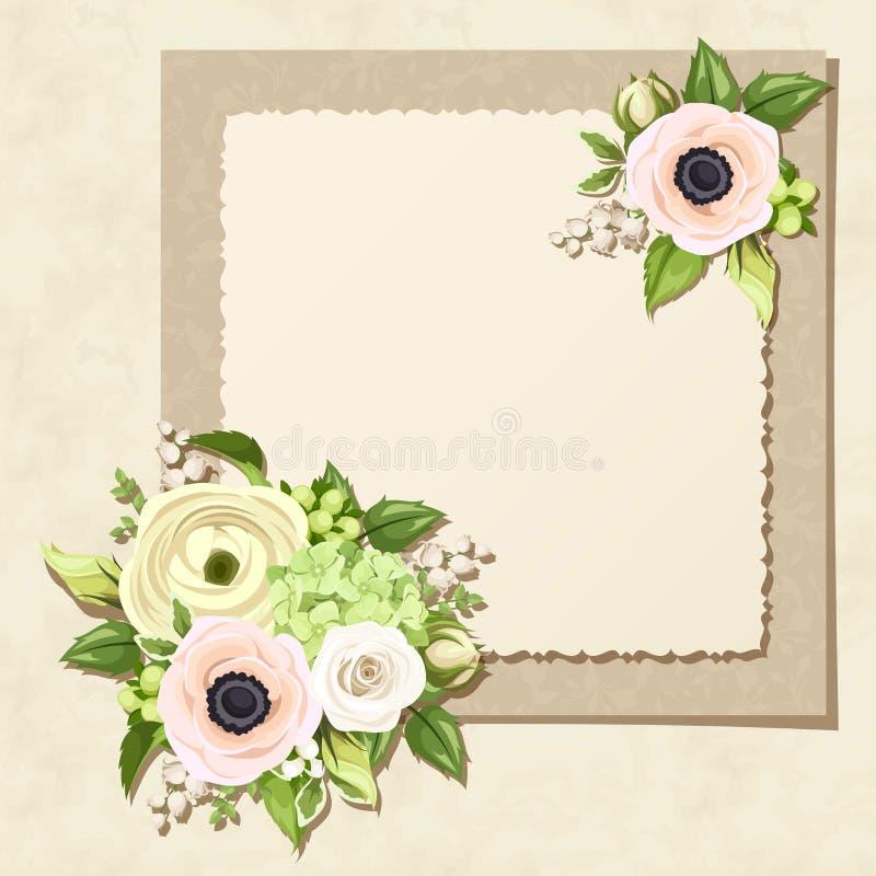 Tarjeta de felicitación con las flores blancas y verdes Vector EPS-10 stock de ilustración