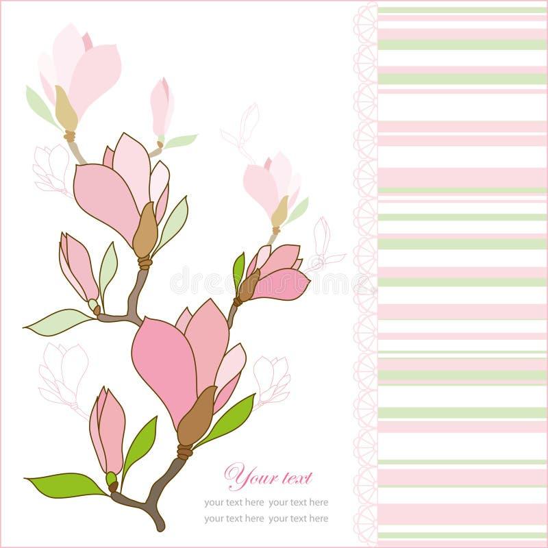 Tarjeta de felicitación con las flores de la magnolia libre illustration