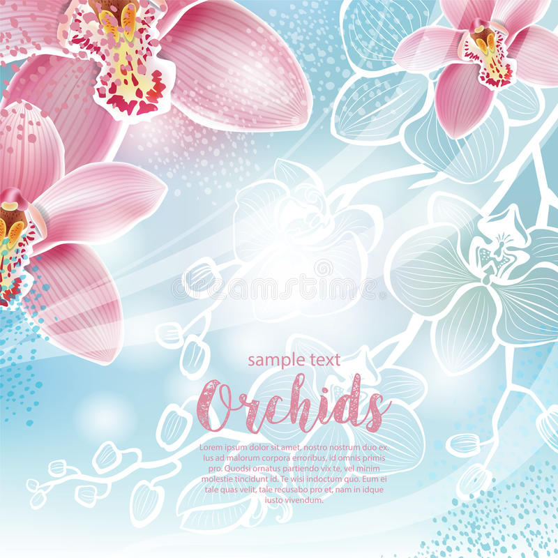Tarjeta de felicitación con las flores de las orquídeas ilustración del vector