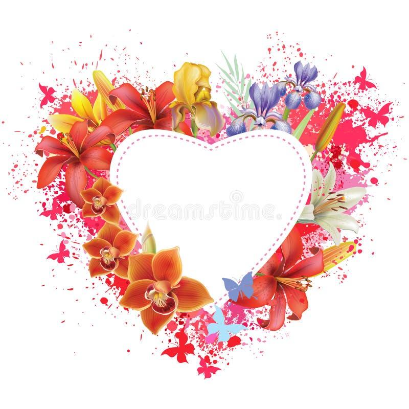 Tarjeta de felicitación con las flores y las mariposas ilustración del vector