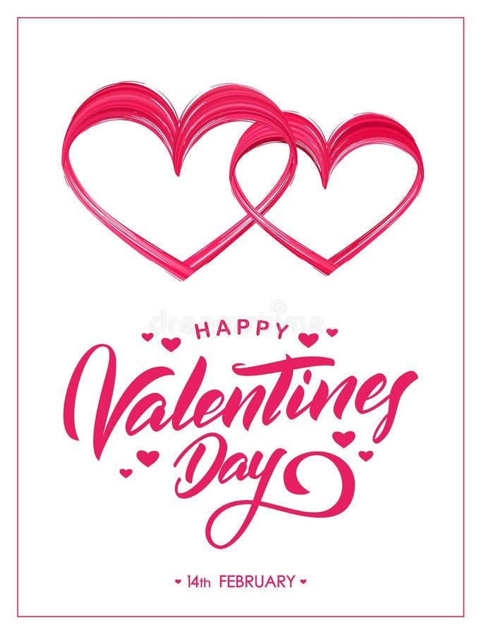 Tarjeta de felicitación con las letras de la mano de día de San Valentín feliz y la forma de la pintura del movimiento del cepill libre illustration