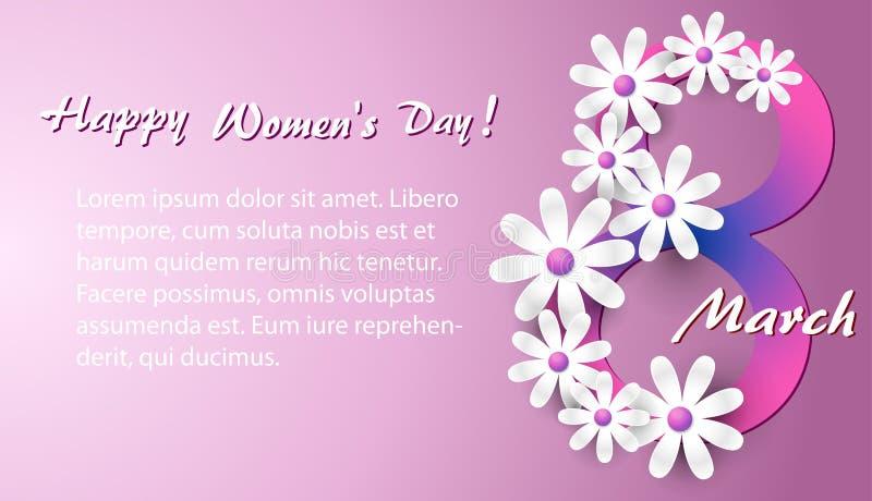 Tarjeta de felicitación con las margaritas blancas en un fondo rosado a un día internacional del ` s de las mujeres el 8 de marzo stock de ilustración