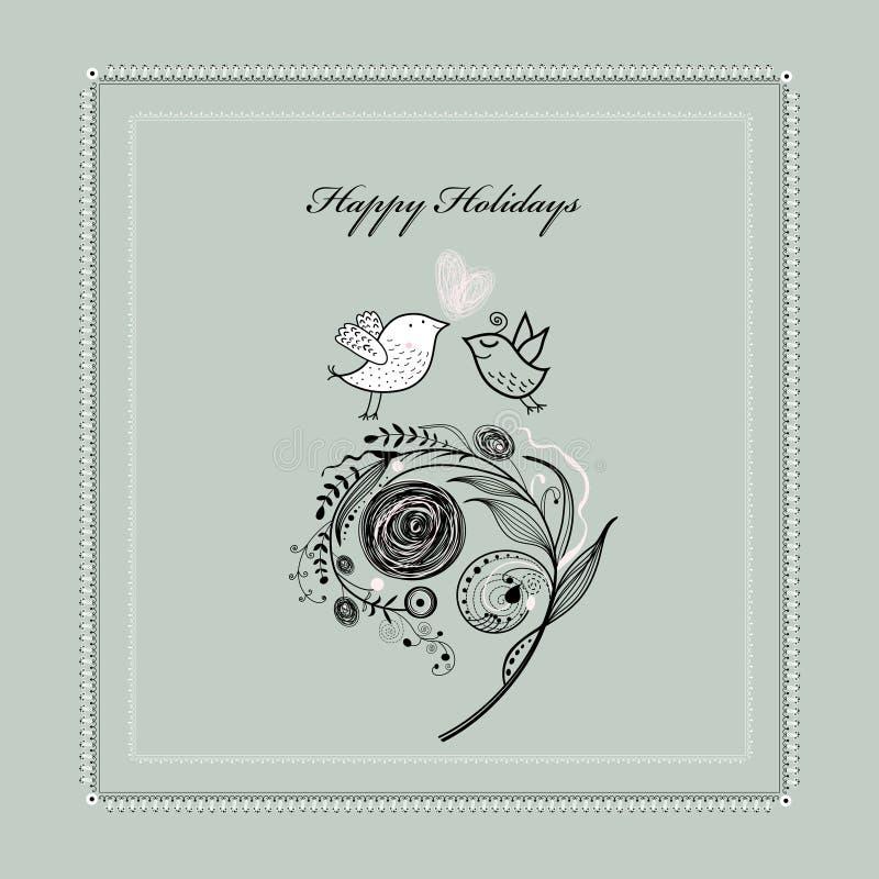 Tarjeta de felicitación con las plantas y los pájaros libre illustration