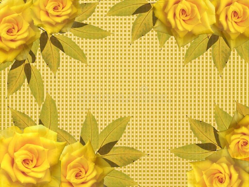 Tarjeta de felicitación con las rosas amarillas stock de ilustración